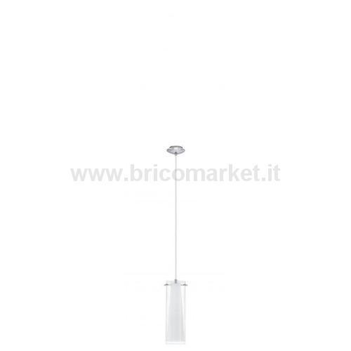 SOSPENSIONE PINTO 1LX60W E27 CROMO+VETRO TRASP+VTR BCO