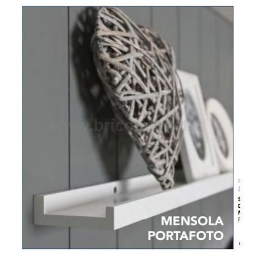 MENSOLA PORTAFOTO LACCATA BIANCA CM. 80X9X3