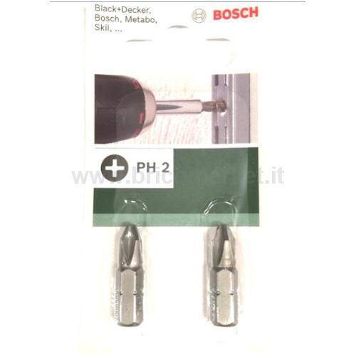 2 BIT ATTACCO ESAGONALE ESTERNO DIN 3126-C6,3, 1/4 STANDARD PH2 25MM PZ 2