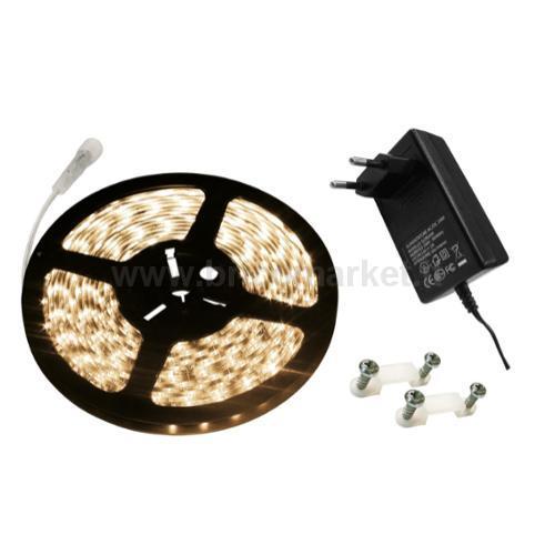 KIT NASTRO LED MT.2 12V 30 LED/MT LUCE NATURALE + ALIMENTATORE 12V/24W