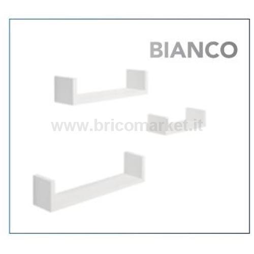 SET 3 MENSOLE FORMA U BIANCO CM. 10X42X10