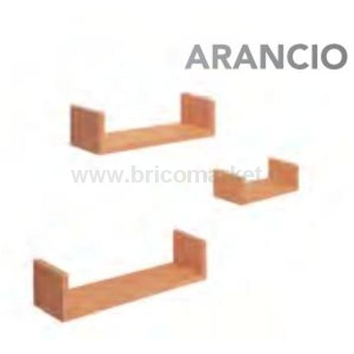 SET 3 MENSOLE FORMA U ARANCIO CM. 10X42X10
