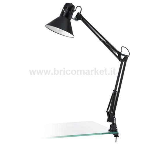 FIRMO - LAMPADA ESTENDIBILE CON MORSETTO 1L X 60W E27 NERO LUCIDO