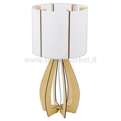 COSSANO - LAMPADA TAVOLO STUDIO 22,5CM 1X60W E27 LEGNO PLASTICA, BIANCO CON INTERR
