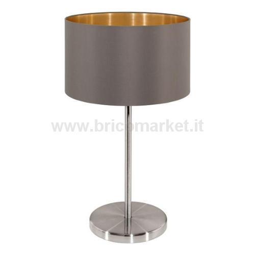 LAMPADA DA TAVOLO MASERLO E27 23XH42CM NICHEL SATINATA E TESSUTO CAPPUCCINO/ORO