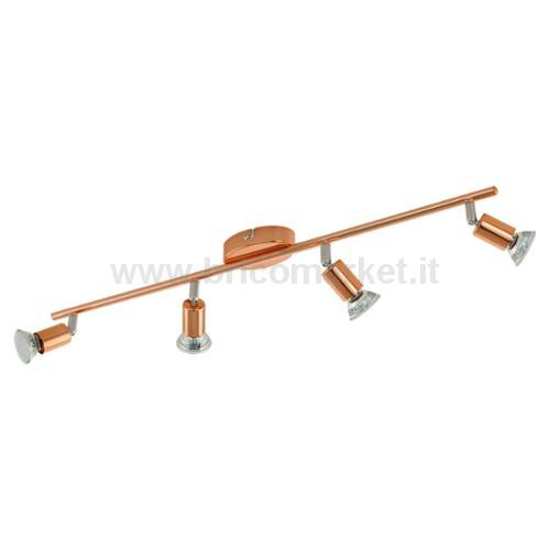 BUZZ-COPPER - BARRA 68,5CM X 6,5CM 4X3W GU10-LED ACCIAIO, RAME, NICKEL SATINATO