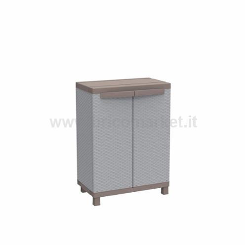 ARMADIOIN RESINA DUE ANTE EFFETTO RATTAN CM.68X39X91,5H