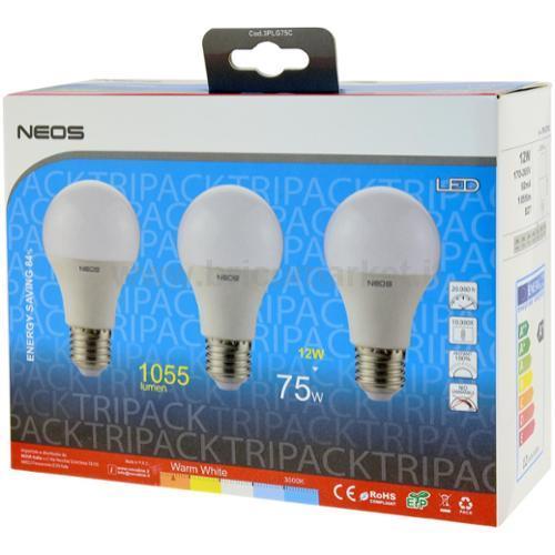 TRIPACK LAMPADA LED GOCCIA 12W E27 LUCE CALDA 3000K