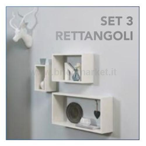 SET 3 RETTANGOLI BIANCO CM. 1.5X60X30