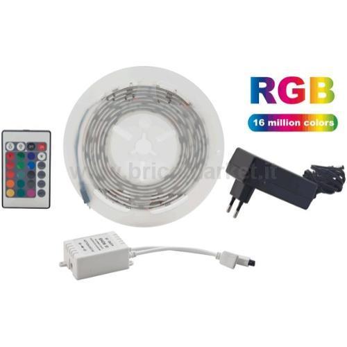 KIT NASTRO LED RGB 2 MT 30 LED/MT SMD5050 12V 6W/MT IP64 - BLISTER
