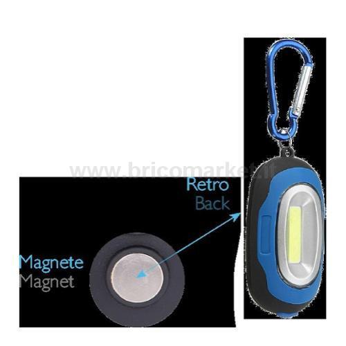 TORCIA LED PORTACHIAVI BLU CON MAGNETE (BATTERIE 2XCR2032 INCLUSE)