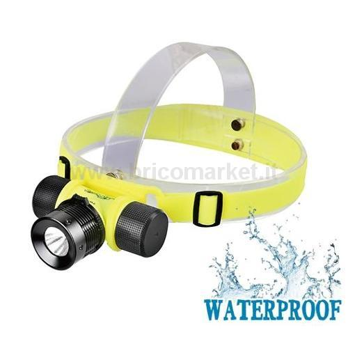 TORCIA LED FRONTALE CON CINGHIA - WATERPROOF (4 X AAA NON INCLUSE)