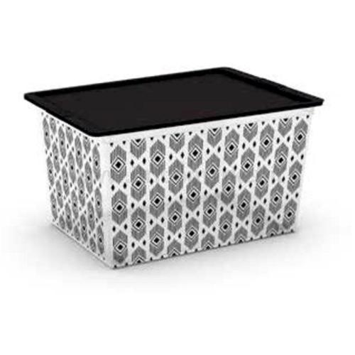 C-BOX STYLE XL CORPO + COPERCHIO CON FILM DECORATIVO CON RUOTE 55 X 38,5 X 30,5