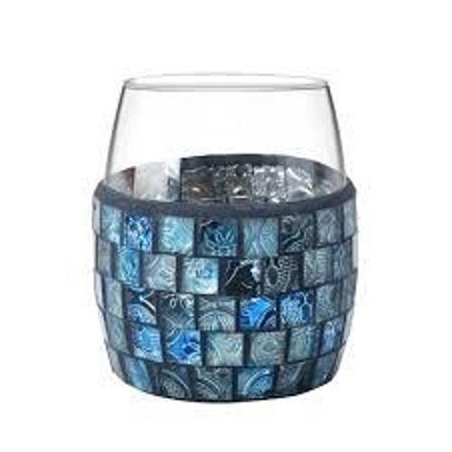 CRYSTAL BICCHIERE IN VETRO MOSAICO BLU
