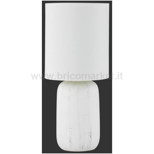 CLAY LAMPADA DA TAVOLO CON BASE CERAMICA EFFETTO LEGNO E PARALUME BIANCO H. 35CM D. 15CM
