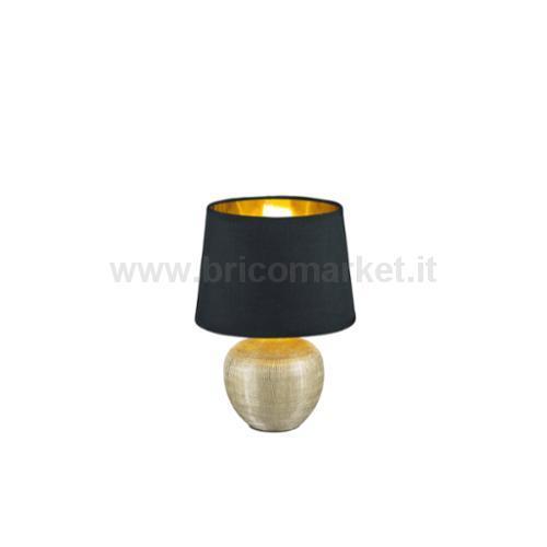 LUXOR LAMPADA TAVOLO BASE CERAMICA ORO E PARALUME NERO INTERNO ORO H. 26CM D. 18CM