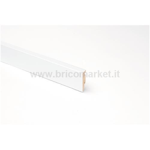 BATTISCOPA MDF BIANCO RETTANGOLARE CM. 5.8X1.5X240