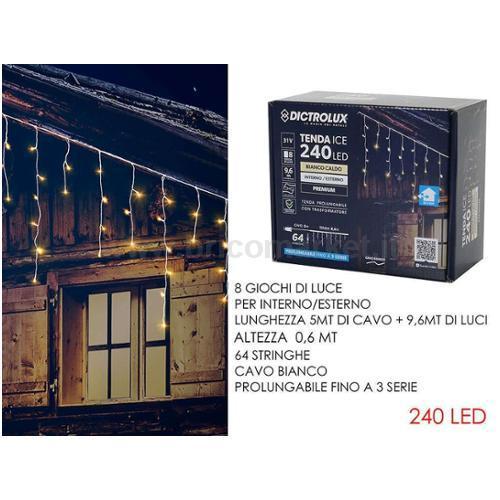 TENDA 240 LED 9.6XH0.6M BIANCO CALDO PROGRAMMABILE E PROLUNGABILE