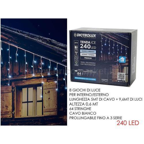 TENDA 240 LED 9.6XH0.6M BIANCO GHIACCIO PROGRAMMABILE E PROLUNGABILE