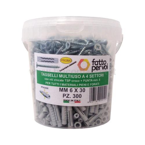 BOX 300 TASSELLI NYLON F4 MM.6+VITI+PUNTA