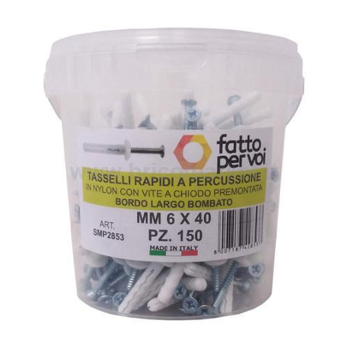 BOX 150 TASSELLI NYLON NPL 6X40 C/CHIODO