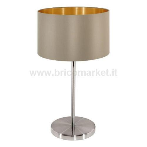 LAMPADA DA TAVOLO MASERLO E27 23XH42CM NICHEL SATINATA E TESSUTO TAUPE'/ORO