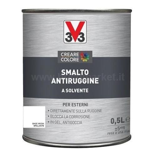 SMALTO ANTIRUGGINE LT 0,5 ASPETTO BRILLANTE BASE MEDIA