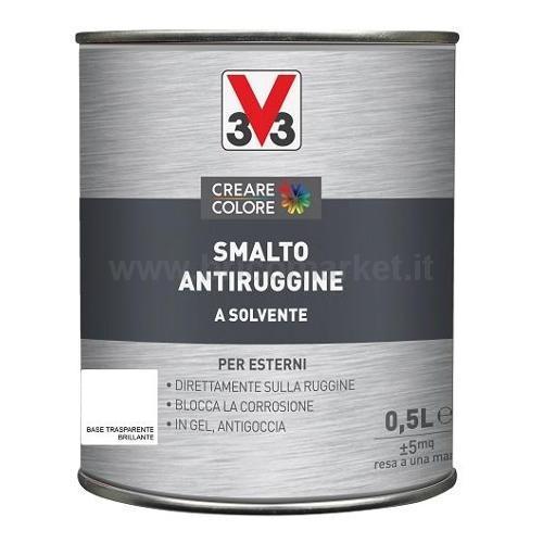 SMALTO ANTIRUGGINE LT 0,5 ASPETTO BRILLANTE BASE TRASPARENTE