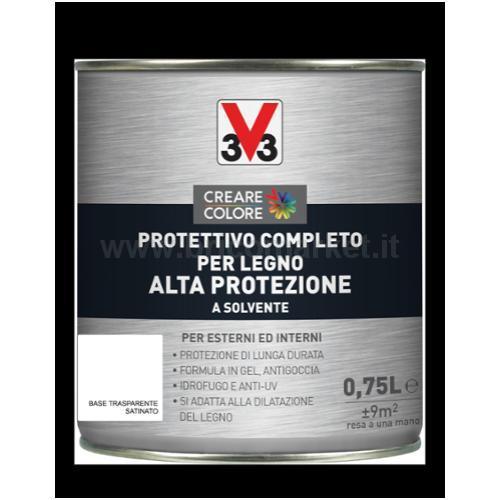 PROTETTIVO COMPLETO PER LEGNO ALTA PROTEZIONE SOLVENTE LT 0.75 ASPETTO SATINATO BASE TRASPARENTE