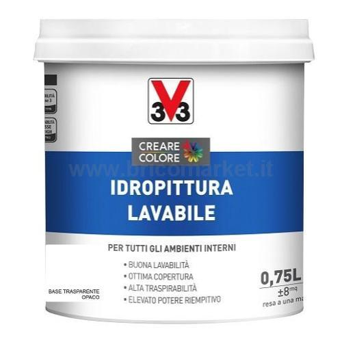 IDROPITTURA LAVABILE LT 0.75 ASPETTO OPACA BASE TRASPARENTE