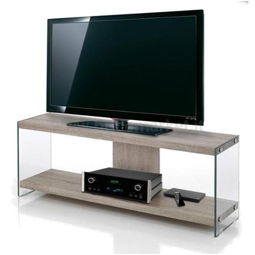 PORTA TV CM 120X29,5X45H COLORE ROVERE E STRUTTURA IN VETRO TEMPERATO 8MM