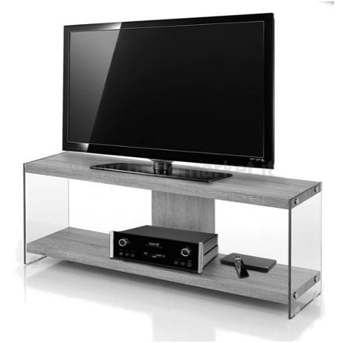 PORTA TV CM 120X29,5X45H COLORE CEMENTO E STRUTTURA IN VETRO TEMPERATO 8MM