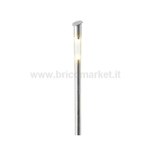 LAMPADA SOLARE 1 LED A LUCE CALDA D.5XH57CM IN ACCIAIO CON DIFFUSORE OPALE