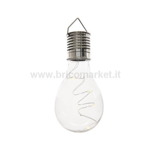 BULBO SOLARE 4 LED A LUCE CALDA D.8XH14CM IN PLASTICA CRAQUELE