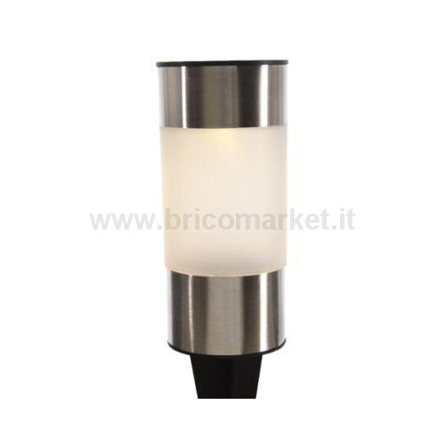 LAMPADA SOLARE 1 LED A LUCE CALDA D.7XH14CM IN ACCIAIO CON DIFFUSORE OPALE