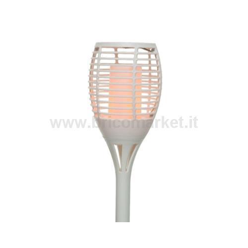 TORCIA SOLARE 72 LED EFFETTO FIAMMA D.12XH62CM IN PLASTICA BIANCA