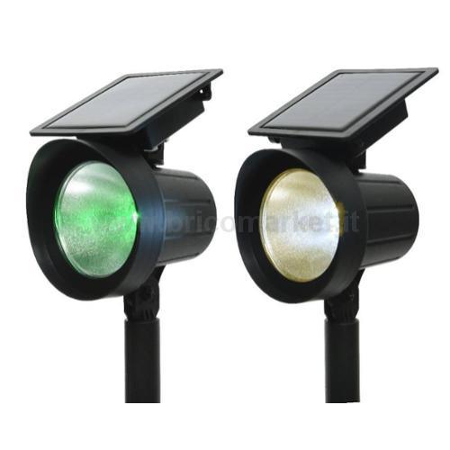 SET 2 LAMPADE SOLARI 7 LED A LUCE CALDA/MULTICOLOR D.13XH32CM IN PLASTICA NERA