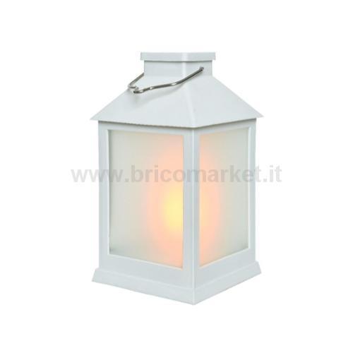 LANTERNA SOLARE BIANCA 12 LED EFFETTO FIAMMA 10X10XH18CM IN PLASTICA