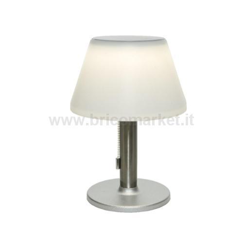LAMPADA SOLARE DA TAVOLO 10 LED A LUCE CALDA D.20XH28CM IN ACCIAIO CON DIFFUSORE OPALE