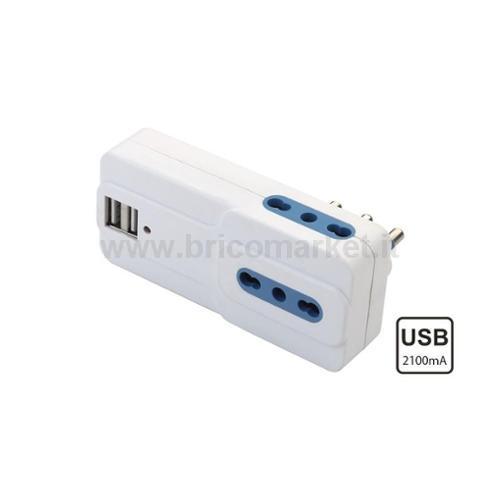 ADATTATORE SPINA 16A 3 PRESA BIPASSO CON 2 USB DC 5V 2100MA. COL. BIANCO
