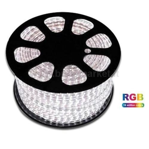 NASTRO LED 220V - RGB - 8W/M - 60LED/M - SMD 5050 - MIS.16X8MM - IP65 - SILICONE EPOSSIDICO
