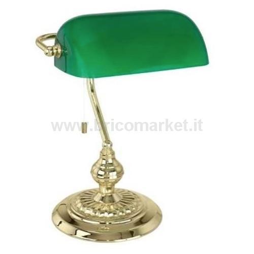 BANKER LAMPADA DA TAVOLO CM. 28X39H E27 STRUTTURA IN METALLO COL. OTTONE E VETRO VERDE