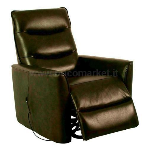 POLTRONA RECLINER CON ALZAPERSONA IN ECOPELLE MARRONE
