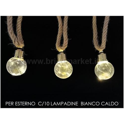 FUNE CON 10 LAMPADINE BIANCO CALDO PER ESTERNO