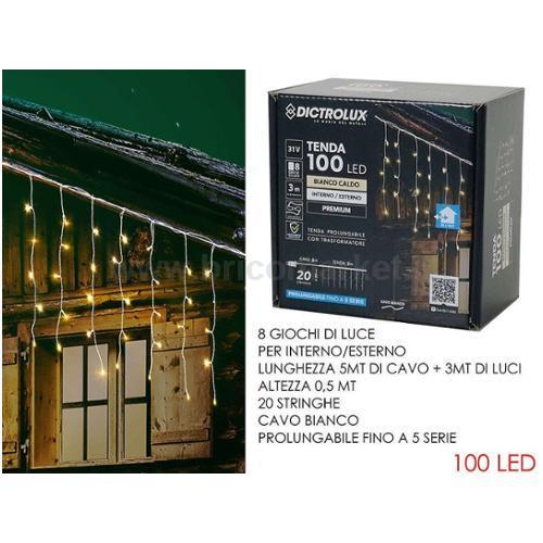 TENDA 100 LED 3XH0.5M BIANCO CALDO PROLUNGABILE