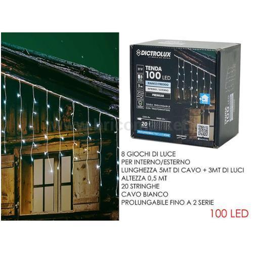 TENDA 100 LED 3XH0.5M BIANCO FREDDO PROLUNGABILE