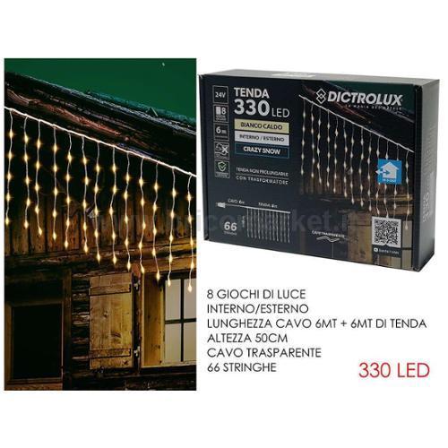 TENDA 330 LED ICE 6XH0.5M BIANCO CALDO
