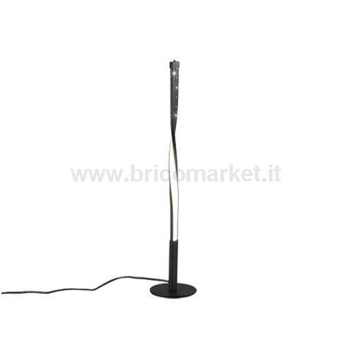LAMPADA DA TAVOLO LED SPIN 12W H50CM 3000K IN METALLO MICROFORATO NERO OPACO CON TOUCH DIMMER