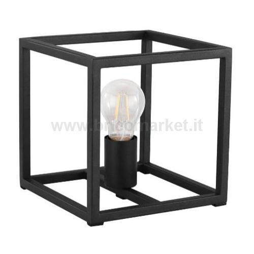 LAMPADA DA TAVOLO ELDRICK E27 20X20XH20CM NERA