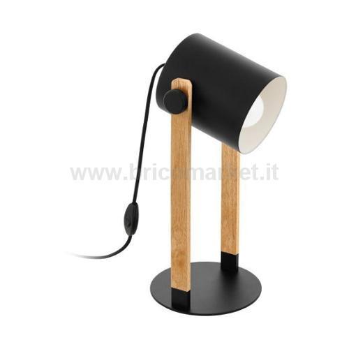 LAMPADA DA TAVOLO HORNWOOD E27 21X18XH42CM NERA CON INSERTI IN LEGNO